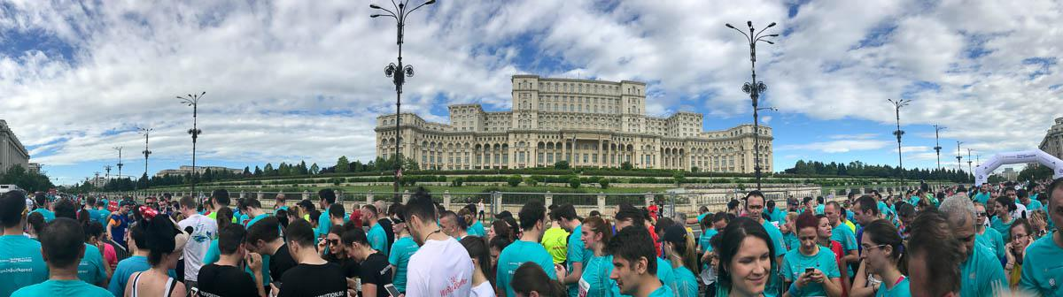 Palace of the Parliament - impressive backdrop to the finish zone
